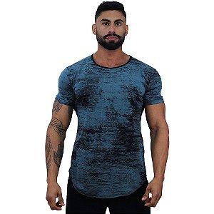 Camiseta Longline Fullprint Masculina MXD Conceito Rajado Corrosivo Azul