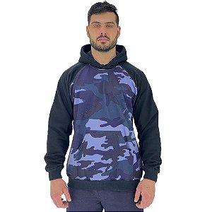 Blusa Moletom Masculino MXD Conceito Com Touca Camuflado Azul