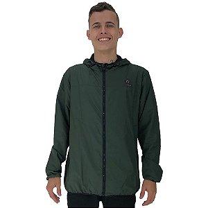 Jaqueta Corta Vento com Zíper Premium Masculino Verde Escuro