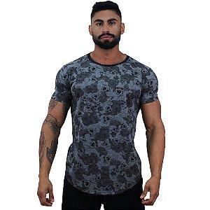 Camiseta Longline Fullprint Masculina MXD Conceito Roses and Skull Dark