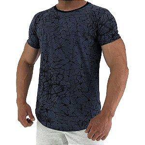 Camiseta Longline Fullprint Masculina MXD Conceito Ramificação Azul