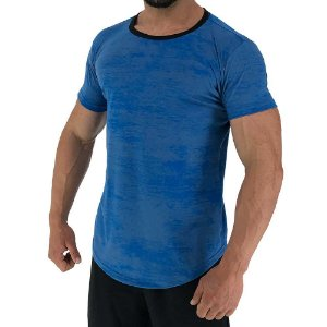 Camiseta Longline Fullprint Masculina MXD Conceito Azul Corroído