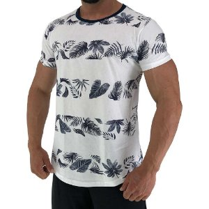 Camiseta Longline Fullprint Masculina MXD Conceito Listras Flores