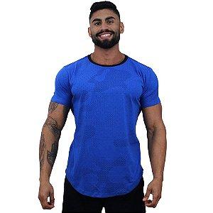 Camiseta Longline Fullprint Masculina MXD Conceito Camuflado Azul Riscos