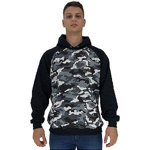 Blusa Moletom Masculino MXD Conceito Com Touca Camuflado Cinza e Branco