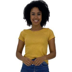 Camiseta Babylook Canelada KM MXD Conceito Amarelo