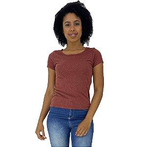 Camiseta Babylook Canelada KM MXD Conceito Mescla Vermelho