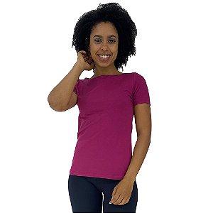 Camiseta Babylook gola Canoa KM MXD Conceito Rosa Escuro