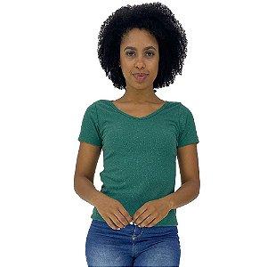 Camiseta Babylook Canelada Gola V KM MXD Conceito Verde