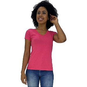 Camiseta Babylook Canelado Gola V KM MXD Conceito Rosa