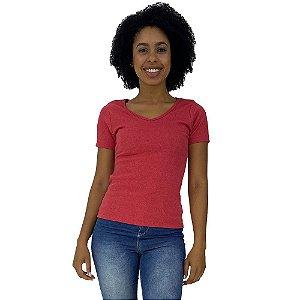 Camiseta Babylook Canelada Gola V KM MXD Conceito Mescla Vermelho