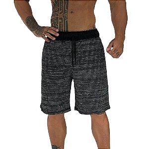 Bermuda Masculina Plus Size Moletinho MXD Conceito Preto Rajado Branco