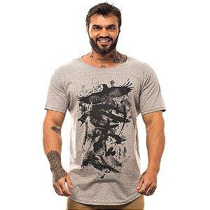 Camiseta Longline Masculina MXD Conceito Limitada Pássaro Escritas Japonesas