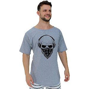Camiseta Morcegão Masculina MXD Conceito Caveira com Bandana e Fone