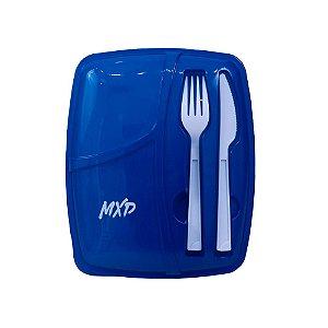 Marmita Plástica Três Compartimentos MXD Conceito Azul