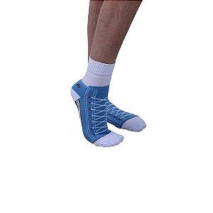 Meia Atoalhada Modelo Tênis Antiderrapante Feminina Azul Bebê Tamanho 35 ao 39