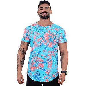 Camiseta Longline Fullprint Masculina MXD Conceito Tie Dye Azul
