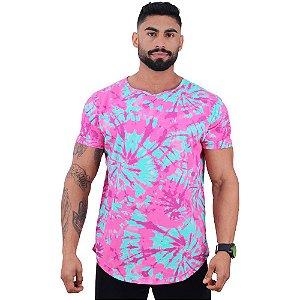Camiseta Longline Fullprint Masculina MXD Conceito Tie Dye Rosa