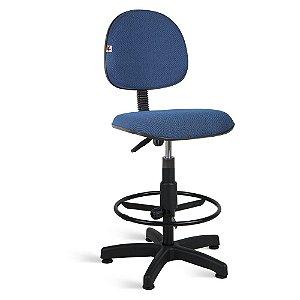 Cadeira Caixa Executiva Tecido Azul Com Preto