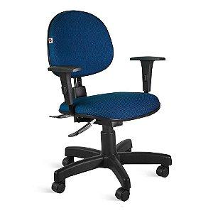 Cadeira Executiva Back System Braços Tecido Azul Com Preto