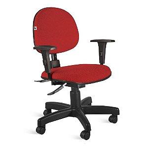 Cadeira Executiva Back System Braços Tecido Vermelho
