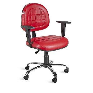 Cadeira Executiva Giratória Braços Couríss Vermelho Turquesa