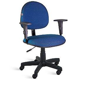 Cadeira Executiva Giratória Braços Tecido Azul Com preto