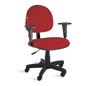 Cadeira Executiva Giratória Braços Tecido Vermelho