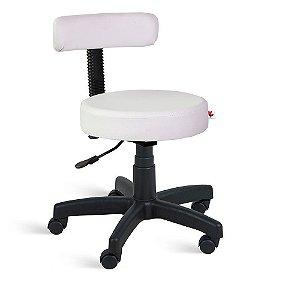 Cadeira Mocho Giratória Couríssimo Branco