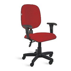 Cadeira Diretor Back System Braços Tecido Vermelho