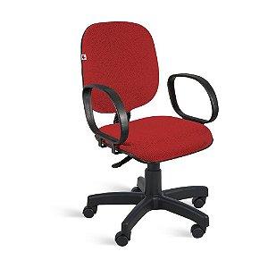 Cadeira Diretor Giratória Braços Tecido vermelho