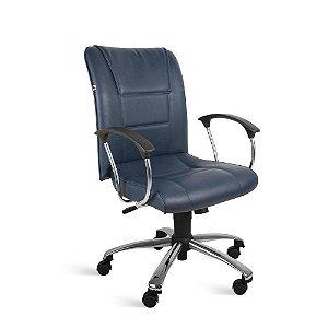 Cadeira Diretor Relax Braços Couríssimo Azul Safira