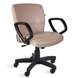 Cadeira Diretor Relax Braços Couríssimo Bege Jaspe
