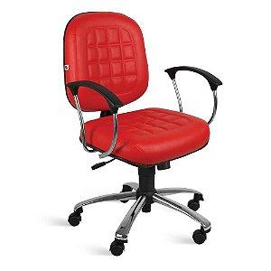Cadeira Diretor Relax Braços Couríssimo Vermelho Turquesa
