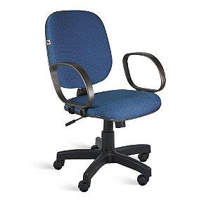 Cadeira Diretor Relax Braços Tecido Azul Com Preto