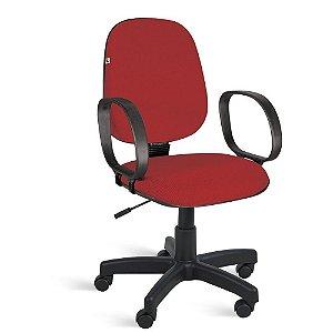 Cadeira Gerente Relax Braços Tecido Vermelho