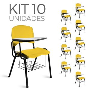 Cadeira Plástica Universitária Kit 10 A/E Amarelo Lara