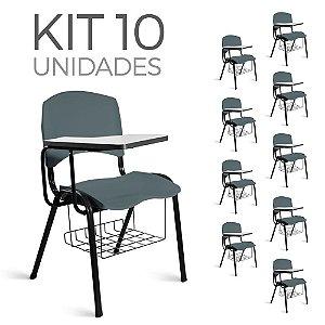 Cadeira Plástica Universitária Kit 10 A/E Cinza Lara