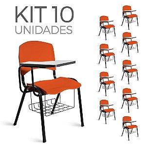 Cadeira Plástica Universitária Kit 10 A/E Laranja Lara