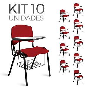 Cadeira Plástica Universitária Kit 10 A/E Vermelho Lara