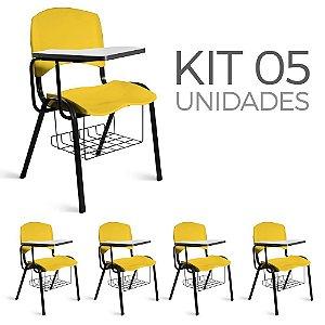 Cadeira Plástica Universitária Kit 5 A/E Amarelo Lara