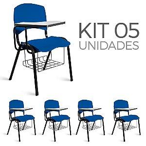 Cadeira Plástica Universitária Kit 5 A/E Azul Lara