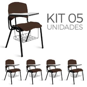 Cadeira Plástica Universitária Kit 5 A/E Marrom Lara