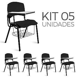 Cadeira Plástica Universitária Kit 5 A/E Preto Lara