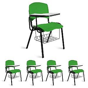 Cadeira Plástica Universitária Kit 5 A/E Verde Lara