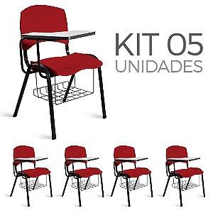 Cadeira Plástica Universitária Kit 5 A/E Vermelho Lara