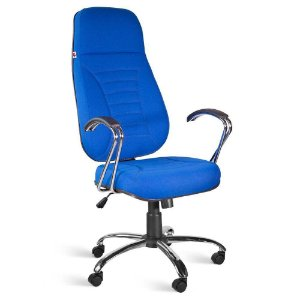 Cadeira Presidente Extra Relax Braços Tecido Azul Titânio