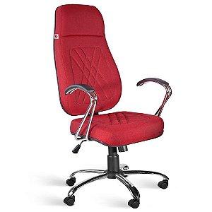 Cadeira Presidente Extra Relax Braços Tecido Vermelho Telúrio
