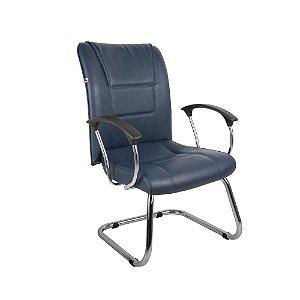 Cadeira Diretor Pé Contínuo Braços Couríssimo Azul Safira