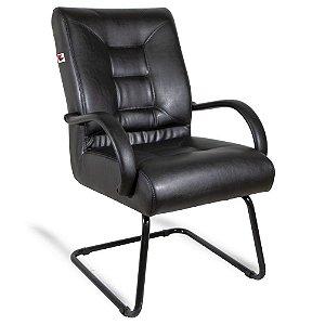 Cadeira Diretor Pé Contínuo Braços Couríssimo Preto Citrino